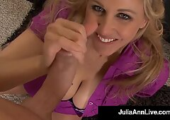 Delicious Milf Julia Ann Spills Man Milk On Sexy Feet After Busting Nut!